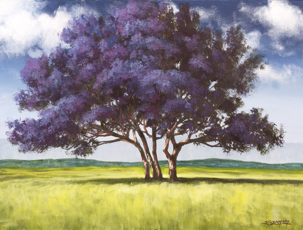 Jacaranda painting lesson on dvd tim gagnon studio for How to paint a tree