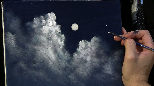 moonlit clouds acrylic painting lesson tim gagnon studio