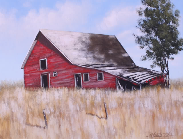 Old red barn acrylic painting lesson tim gagnon studio for Watercolor barn paintings
